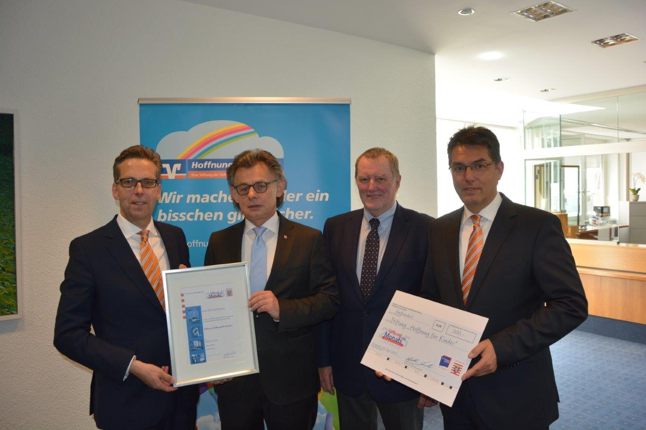 Preisverleihung v.l.n.r. Matthias Martiné, Michael Bußer, Alexander Pfeiffer und Michael Mahr